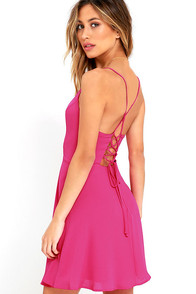 Party Playlist Fuchsia Lace-Up Dress at Lulus.com!