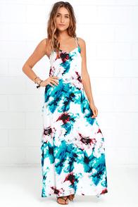 image Olive & Oak Calliope Ivory Floral Print Maxi Dress