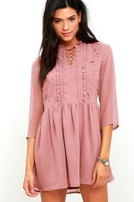 image Glamorous Soft Spoken Mauve Embroidered Lace-Up Dress