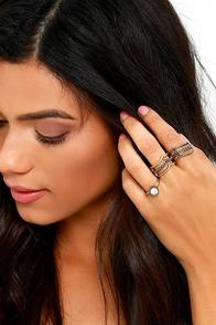 Sun Goddess Brass Ring Set