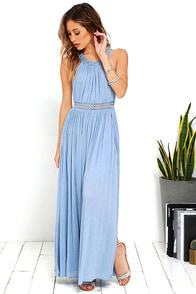 Resort Life Light Blue Lace Maxi Dress