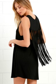 image Adriana Black Fringe Swing Dress