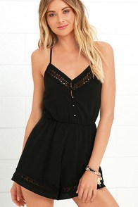image American Honey Black Lace Romper