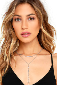 image All My Days Silver Rhinestone Layered Necklace