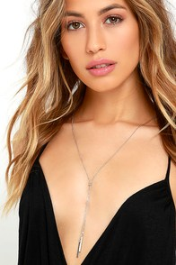 Bar and Away Silver Lariat Necklace