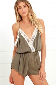 image Catching Wind Olive Green Lace Romper