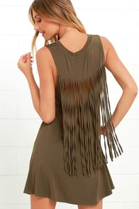 image Adriana Olive Green Fringe Swing Dress