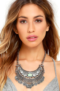 Native Charms Silver Rhinestone Statement Necklace