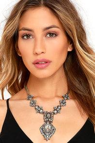 image My Queen Grey Rhinestone Statement Necklace