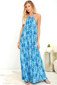 Baja Moment Blue Print Halter Maxi Dress