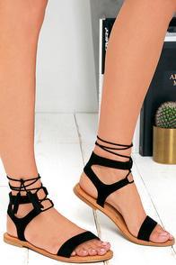 Street Fair Black Suede Lace-Up Sandals