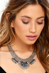 image Good as Mine Silver Rhinestone Statement Necklace