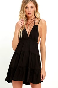 image Play All Day Black Backless Dress