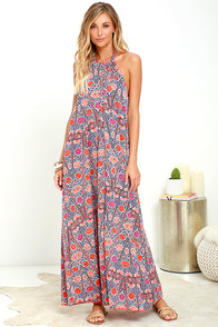 Baja Moment Orange Print Halter Maxi Dress
