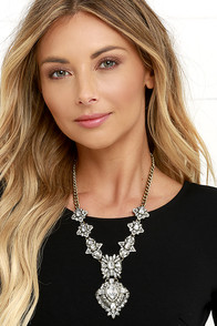 image My Queen Clear Rhinestone Statement Necklace