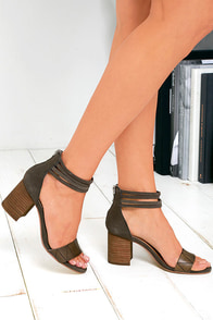 image Chinese Laundry Rylan Smoke Grey Suede Leather Heels
