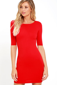 Point of Inflection Red Bodycon Dress