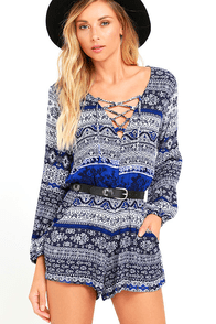 image Lucy Love Spa Weekend Blue Print Lace-Up Romper