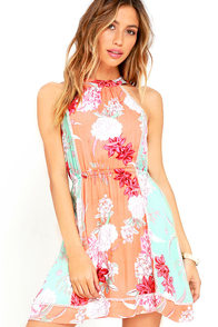 Mink Pink Backyard Bliss Orange Floral Print Dress