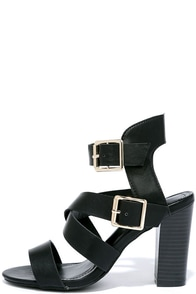 Ways and Scenes Black Heeled Sandals