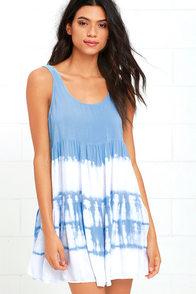 image Tide is High Periwinkle Blue Tie-Dye Babydoll Dress
