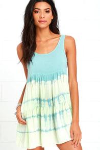 image Tide is High Mint Blue Tie-Dye Babydoll Dress