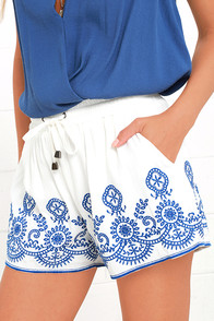 Hazel Mazatlan Blue and Ivory Shorts