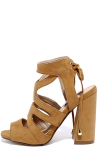 On the Flare Tan Suede Caged Heels