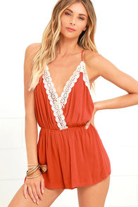 image Catching Wind Rust Red Lace Romper