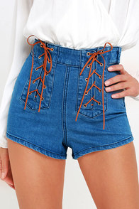 image Somedays Lovin' Jerry Medium Wash Lace-Up Denim Shorts