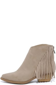 Fallow Fields Taupe Suede Fringe Pointed Booties