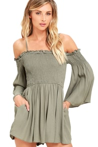 image Beloved Beauty Olive Green Romper