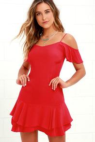 image Ruffled Up Red Mini Dress
