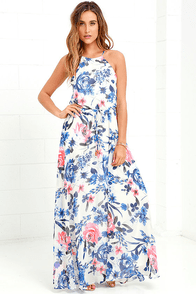 Gazebo Spirit Blue and Ivory Floral Print Maxi Dress