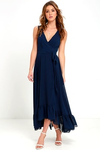 Forever Mine Navy Blue High-Low Wrap Dress