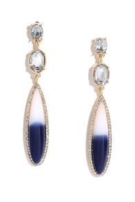 image Star Quality Navy Blue Rhinestone Earrings