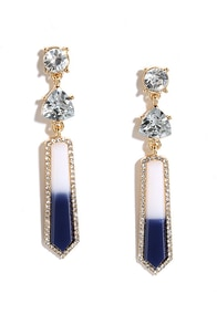 image With a Kiss Navy Blue Rhinestone Earrings