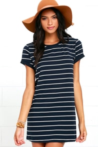 Cafe Society Navy Blue Striped Shirt Dress at Lulus.com!