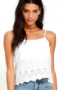 image Rhythm Temples Ivory Lace Crop Top