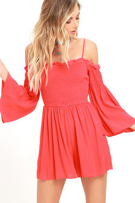 image Beloved Beauty Coral Red Romper