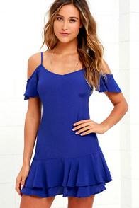 image Ruffled Up Royal Blue Mini Dress