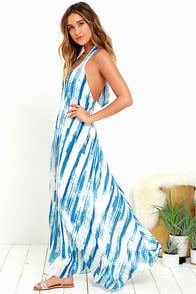 image Wave To Go Blue Print Halter Maxi Dress