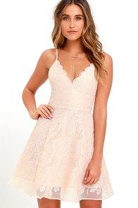 Keepsake Sundream Blush Lace Skater Dress