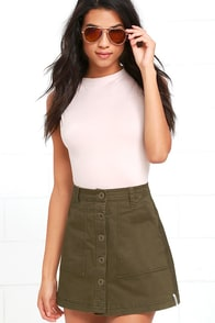 image Rhythm Pacific Olive Green A-Line Skirt