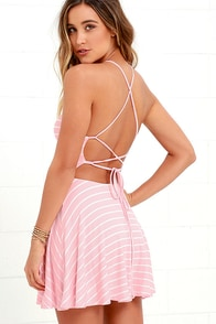 In Formation Pink Striped Lace-Up Dress at Lulus.com!