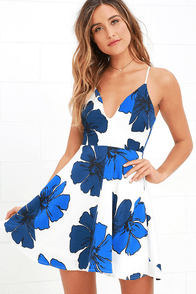 Pretty Pop Blue And Ivory Floral Print Skater Dress at Lulus.com!