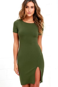 image Flatter Me Olive Green Bodycon Dress