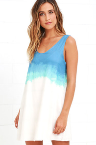 image BB Dakota Orla Blue and Cream Tie-Dye Shift Dress