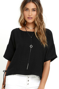 image Afternoon Retreat Black Lace-Up Top
