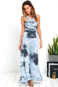 image Tide and Seek Convertible Blue Grey Tie-Dye Maxi Dress